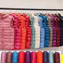 2021 Women's Autumn Waistcoat Ultra Light 90% Down Vest Women Stand collar zipper Slim Portable Warm Sleeveless Winter Waistcoat