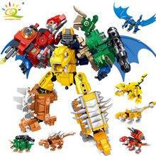 Huiqibao 670 pçs cidade mundo jurassiced dinossauro robô arma parque blocos de construção dragão mecha luta figuras tijolos brinquedos crianças