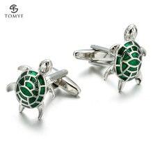 Запонки мужские tomye xk19s006 Зеленый черепаха креативный моделирование