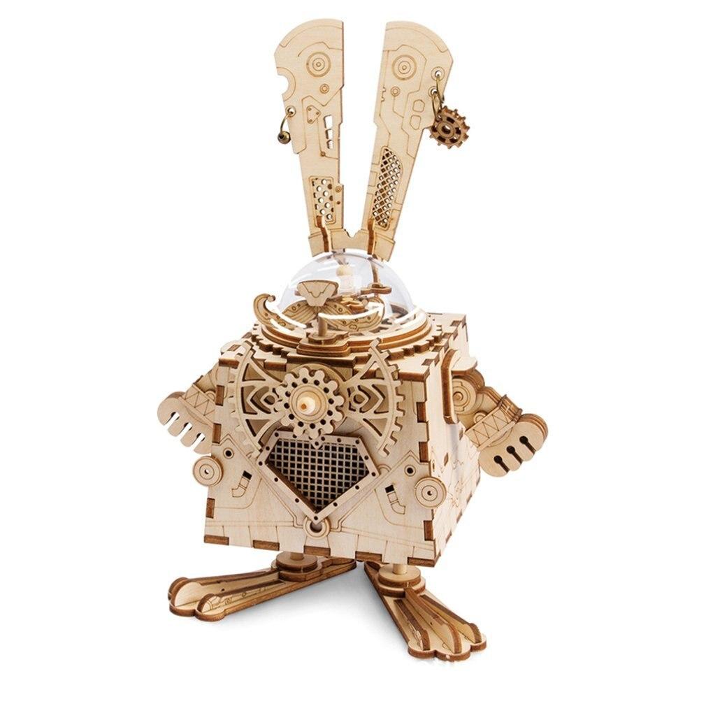 Diy Kreative Geschenke 3D Holz Musik Box Mechanische Musik Box Roboter Home Dekoration Punk Kaninchen Handwerk