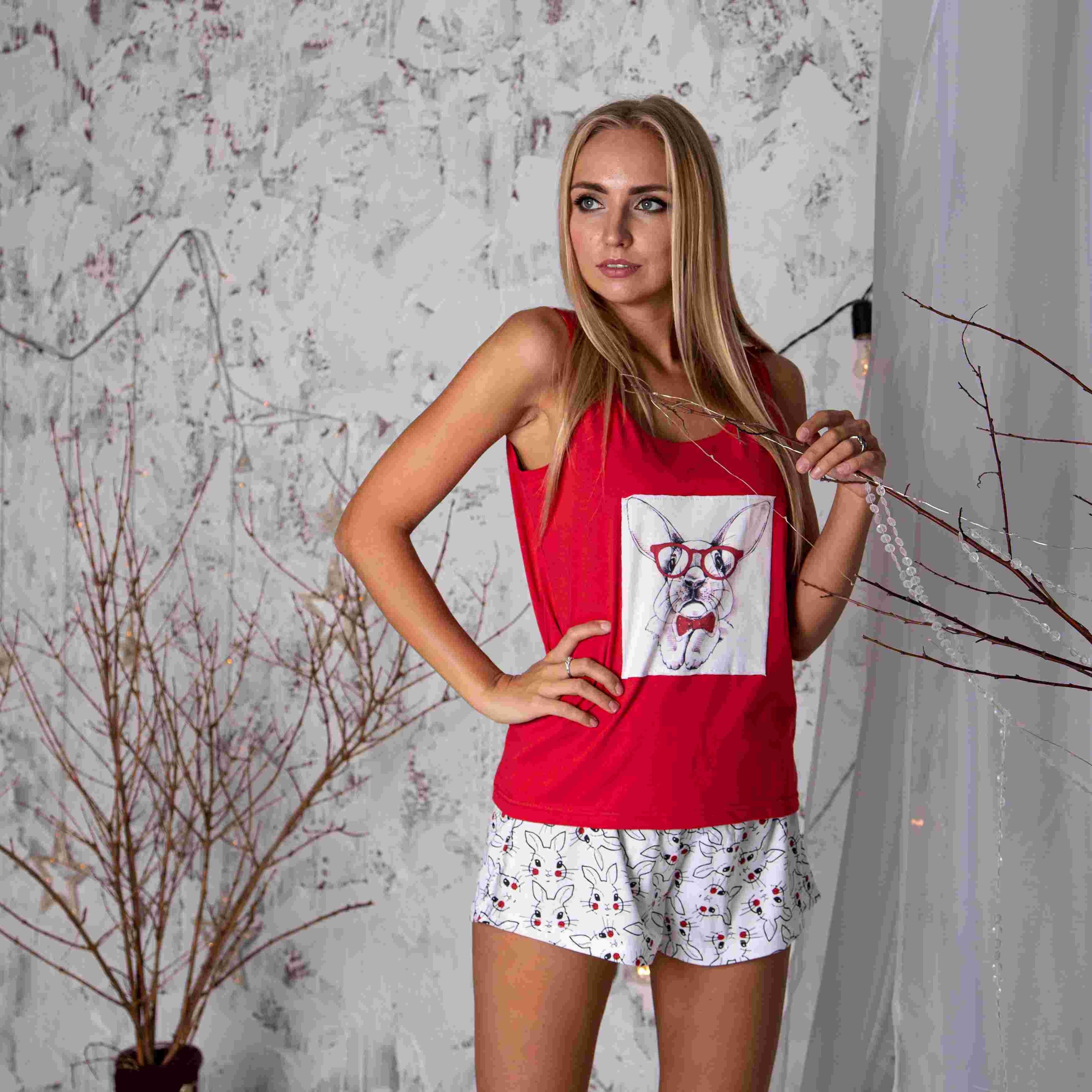 Atoff casa pijamas feminino zhp 023 (cornflower/vermelho/preto + lebres)