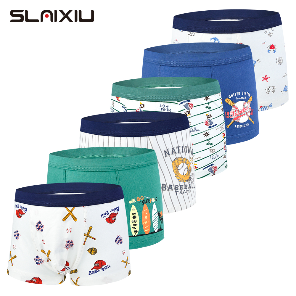 6-Pack Kids Underwear Boxers Cotton Soft Organic Teenager Clothes Underpant Kids Underwear Boxer Briefs For Boys