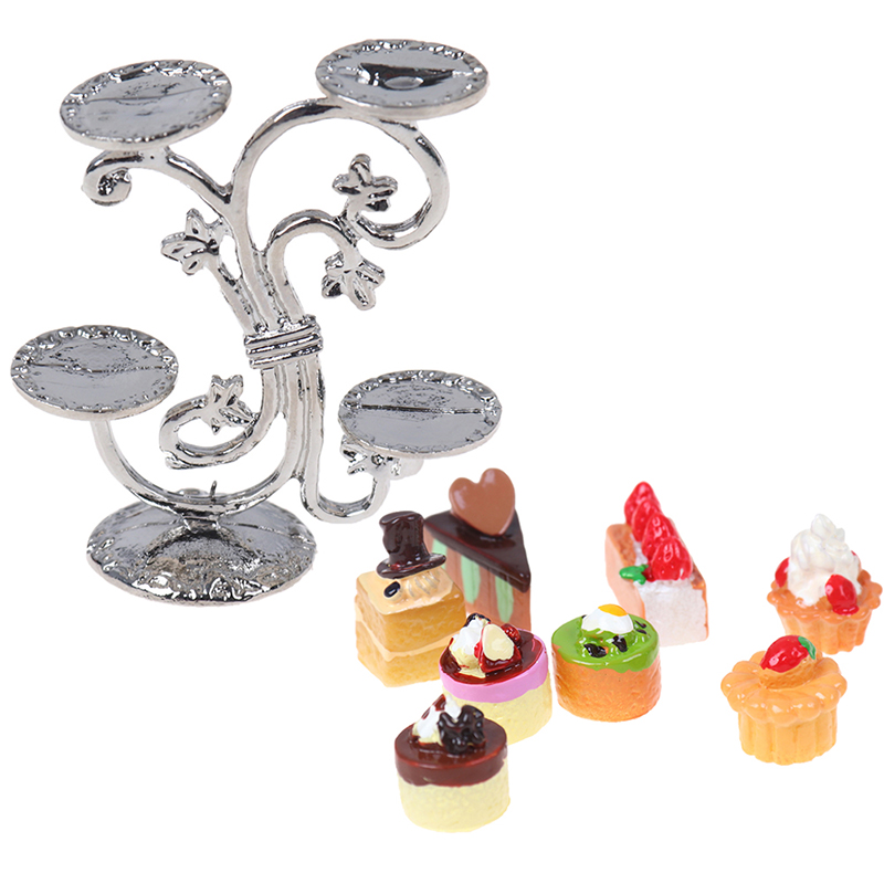 1/12 Dollhouse Miniature Food Groceries Supplies Fruit Stand & Delicious Cakes Diy Kitchen Toys For Baby Kids
