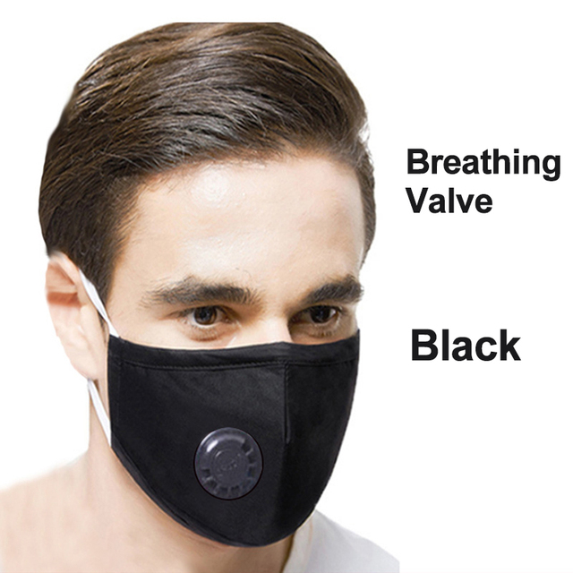 Anti Pollution PM2.5 Flter Mouth Mask Dust Respirator Washable Reusable Masks Cotton Unisex Bacteria proof Flu Face Mask Black 4