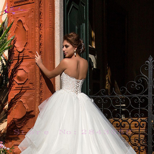 Image 3 - Waulizane strapless 볼 가운 웨딩 드레스 프릴 푹신한 치마 레이스 위로 신부 드레스