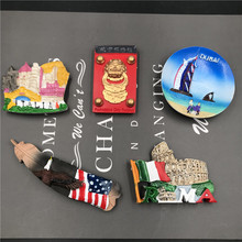 цена на 3D Refrigerator Stickers Magnets Resin Souvenir Italy Venice USA Dubai Beijing Resin Kitchen Home Decoration