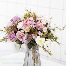 Rosa decoración del Partido de seda clásica flor Artificial peonía ramo de rosas de boda día ramo de decoración