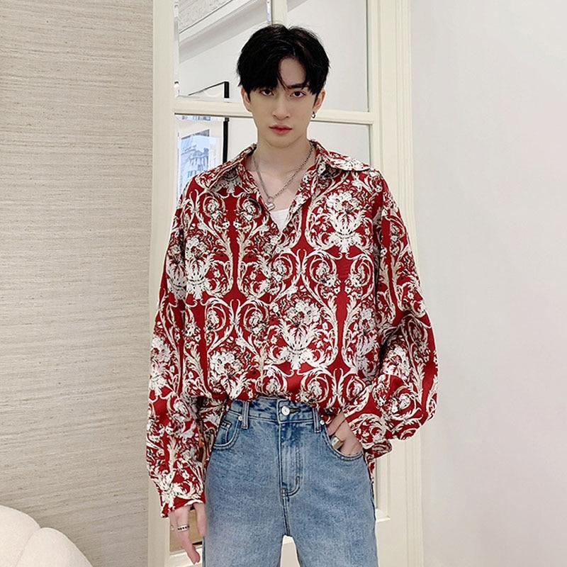Men Retro Fashion Long Sleeve Casual Shirts Male Streetwear Hip Hop Vintage Print Fashion Show Dress Shirts Stage Clothing