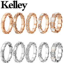 Kelley fit bulgaria s925 sterling silver snake rings with crystal 1:1 high quality anniversary fashion jewelry for womens lovers