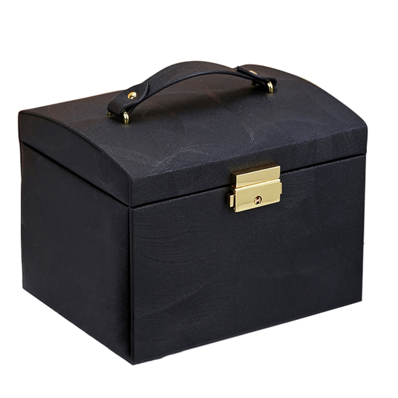 New Jewelry Box Large Capacity Leather Storage Jewelry Box Earring Ring Necklace With Mirror Watch Jewelry Organizer