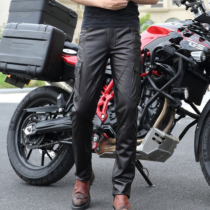 2020 High Quality Men Pants Fashion Genuine Leather Mens Trousers Slim Fit Motorcycle Trousers Casual Pocket Men Pencil Pants