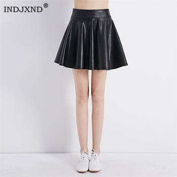 INDJXND New High Waist Faux Leather Skater Flare Skirt Casual Mini Skirt Above Knee Solid Color Black Girl Pleated Skirt XS-XL 2020 new mosaic chiffon pleated skirt contrasting color academic pleated skirt short skirt goth fashion a line above knee