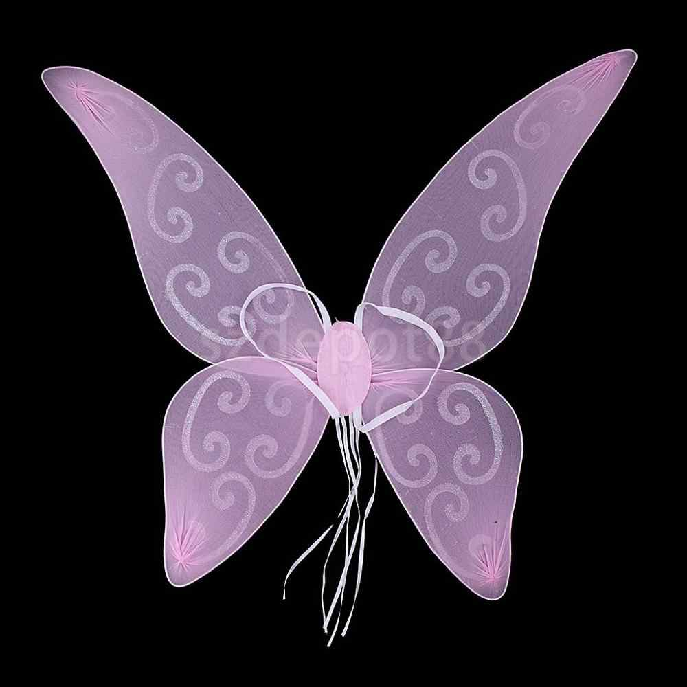 Women Girls Baby Shiny Color Changing Butterfly Angel Fairy Wings Party Costume