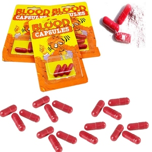 60 sztuk Horror śmieszne Gag Joke realistyczne fałszywe usta krwi kapsułki pigułka rekwizyt halloweenowy Party 3 sztuk/paczka