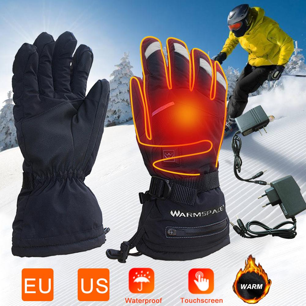 Rechargeable Motorcycle Heating Gloves Touch Screen Non-slip 5 Speed Adjustable Warm Gloves USB Charging Winter Cycling Gloves