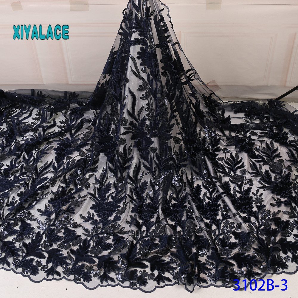 Nigerian Lace Fabric 2019 High Quality Lace Fabric For Women Dress African Tulle Lace With Sequins 5yards Per Piece YA3102B-3