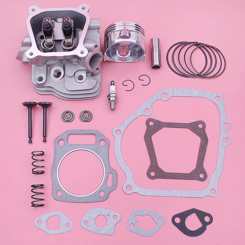 Cylinder Head Gasket Piston Kit For Honda GX160 5 5HP Engine 14721-ZF1-000 14711-ZF1-000 w Intake Exhaust Valve Spring Retainer