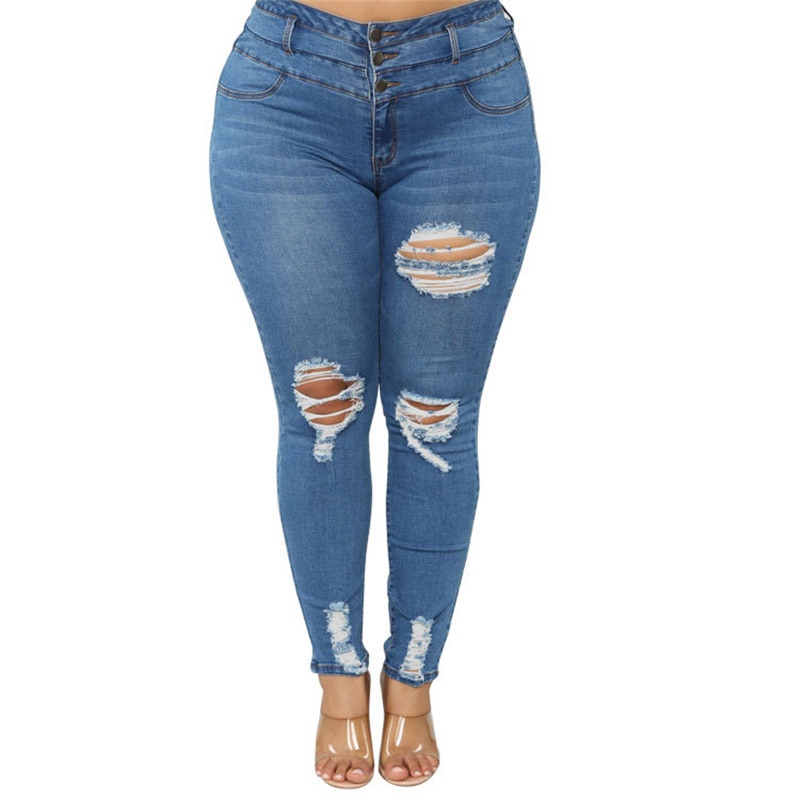 Women's Plus size jeans Black and blue high waist ripped jeans Fashion casual skinny denim pencil pants L-5XL drop shipping 3