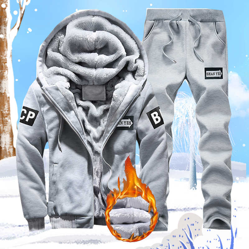 Tracksuits Men Brand Winter Thick Fleece Sweatshirt Jackets 4XL 2 Pieces Track Suit Sporting Casual Fitness Men's Sportswear Set