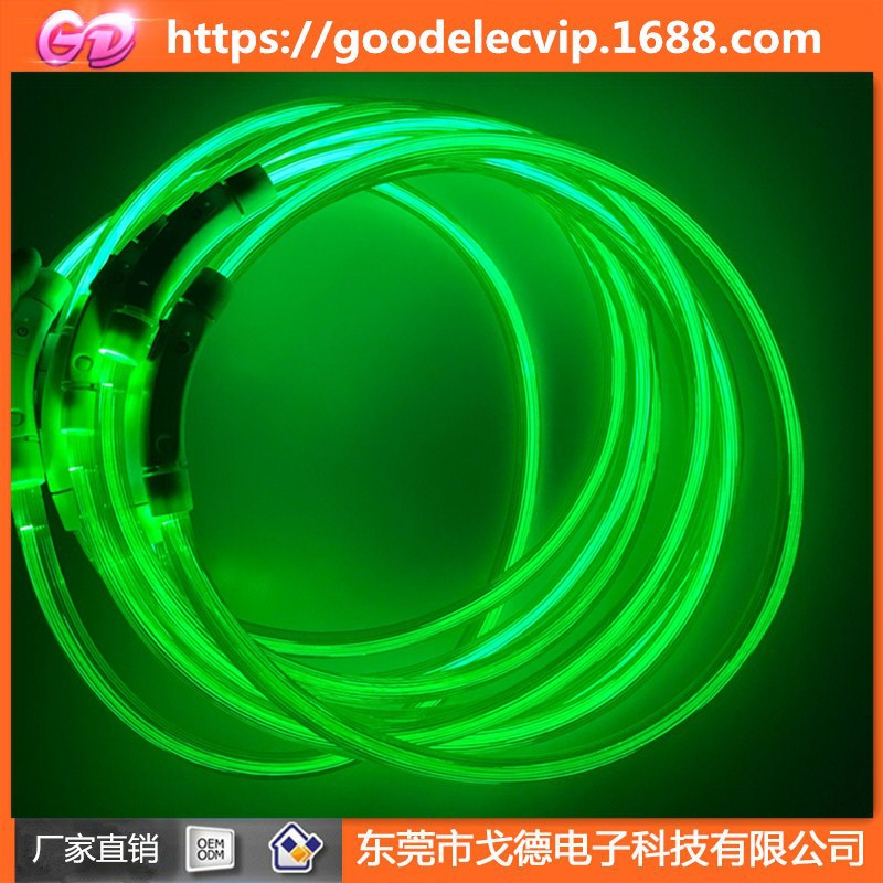 LED Luminous Collar Charging Fiber Tube Neck Ring Dog Flash Circle Pet Supplies PVC Light Guide Luminous Collar