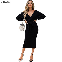 Elegant Black Midi Dress Women Fall 2019 New Stylish Long Sleeve Lace Up Sexy V Neck Party Dress Bandage Bodycon Knitted  Dress stylish cami lace women s bodycon dress