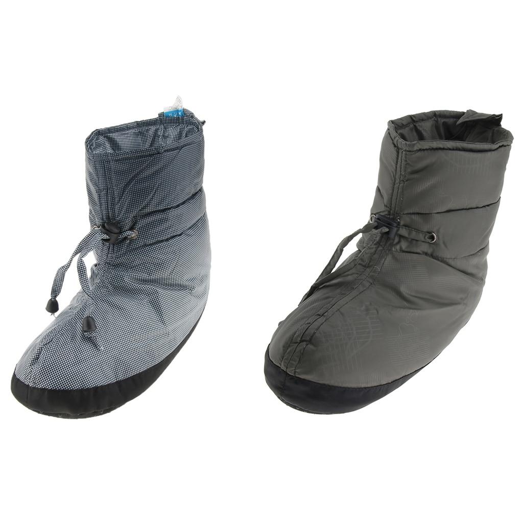 Unisex Warm Camping Slippers Booties Non-slip Indoor Outdoor Winter Camp Shoes