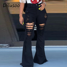 Dilusoo damskie spodnie z wysokim stanem rozkloszowane dżinsy elastyczne zgrywanie Skinny dżinsy Pant kobieta dziura Vintage kobiece dżinsy damskie tanie tanio COTTON Poliester spandex Pełnej długości Osób w wieku 18-35 lat DX9025 Zmiękczania Wysoka Przycisk fly HOLE Bielone