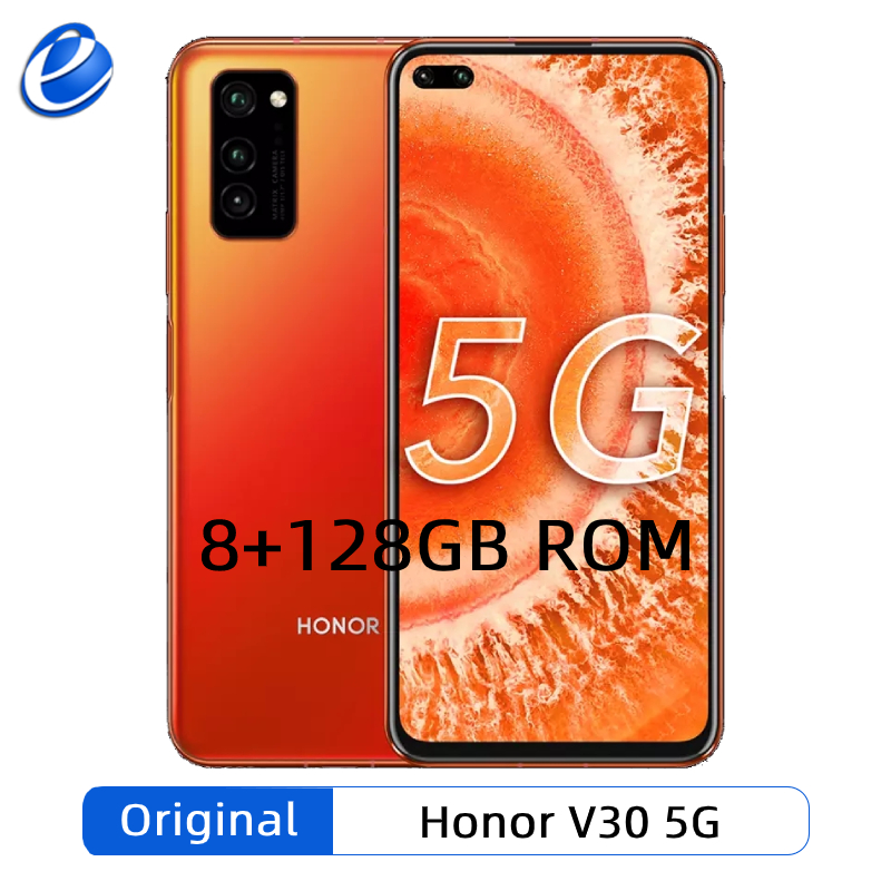 Honor-teléfono inteligente V30 Original, 8GB de RAM, 128GB de ROM, Kirin 990, 7nm, Octa Core, 5G, GPU, Triple CÁMARA DE 40mp, 40W, supercarga