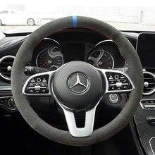 Alle Schwarz Wildleder Leder Lenkrad Hand Nähen Wrap Abdeckung Fit Für Mercedes Benz EINE Klasse 19 20 GLC GLB 2020 CLS 18 20