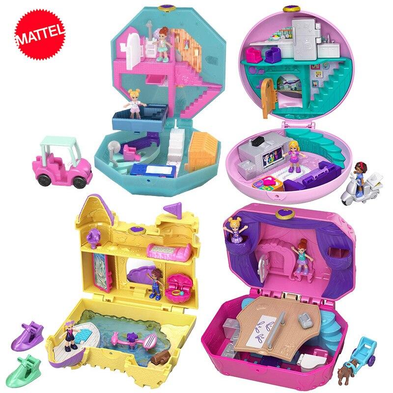 Original Polly Pocket World Mini Treasure Doll House Girl Princess Accessories Musical Dolls Box Music Box Kids Toys Juguetes