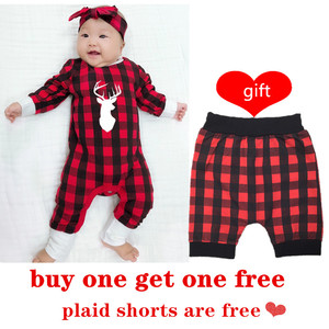 Boys Baby dziewczyny boże narodzenie kombinezon noworodka zima renifer w czerwoną kratę piżamy Bebes Romper dziewczynka ubrania chłopców ubrania 2021 30