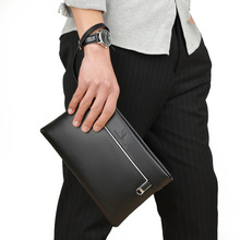 men wallet genuine lleather Clutch money bag fashion Business men's  Zipper Envelope Wallet Slim Handbag Cow Leather Male Purse
