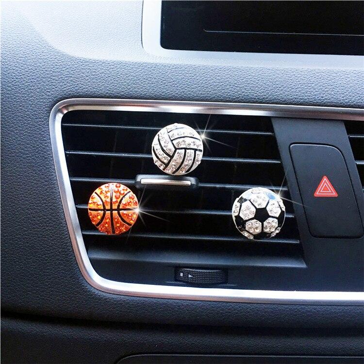 Metal basketball shape car perfume clip Exquisite football Car decoration Perfume Air Freshener Ladies car styling Ornaments