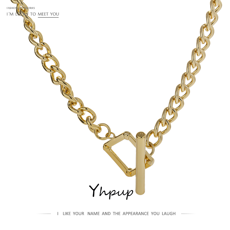 Yhpup Charm Metal Link Chain Necklace Set for Women collane donna Golden statement Jewelry Choker Necklace Gift 2020 бижутерия