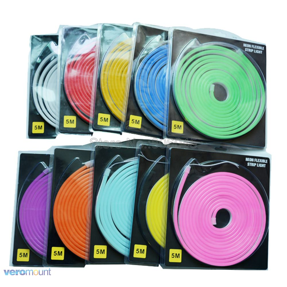 5m DC12V Flexible LED Strip Neon Tape SMD 2835 Soft Silicon Rubber Tube Outdoor Waterproof Light 8*16mm Blister Packaging