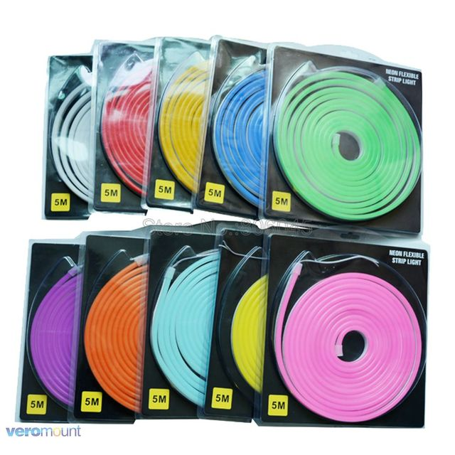 5m DC12V Flexible LED Strip Neon Tape SMD 2835 Soft Silicon Rubber Tube Outdoor Waterproof Light 6*12mm Blister Packaging