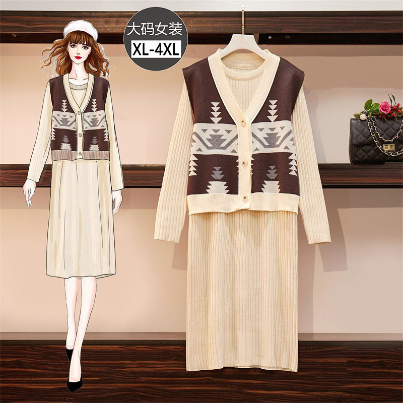 Large Size Dress Fat Mm Autumn And Winter Western Style Knitted Cardigan Waistcoat Base Dress Belly Covering By Age Loose-Fit Tw