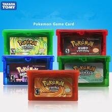 Série pokemon ndsl gb gbc gbm gba sp jogo de vídeo cartucho console cartão clássico jogo coletar versão colorida inglês idioma