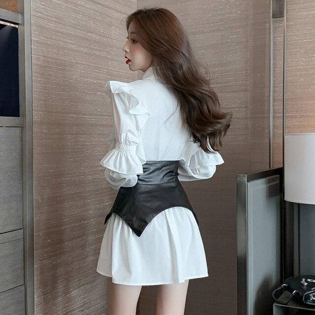 2020 autumn Patchwork Dress  Women Lapel Collar Flare Long Sleeve High Waist Pu Girdle Lace Up Mini Dresses Female Clothing 3