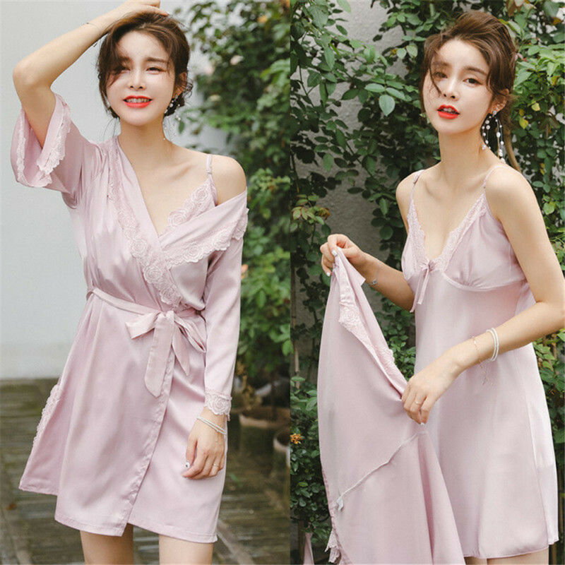 3 Pcs New Pajamas Sets Sexy Lace Women Autumn V-neck Pyjama Femme Satin Belt Sleepwear Homewear Nightwear Pink Female