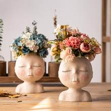 Cartoon Nordic Human Head Statue Succulent Plant Resin Flower Planter Pot Vase Ornament Desktop Decor Art Vase Home Garden Decor(China)
