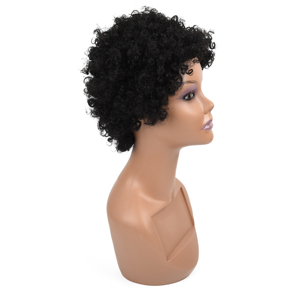LS HAIR Short Curly Bob Wig Brazilian Curly Human Hair Wigs For Women Natural Black Non Remy Hair 130% Density Jerry Curl Wigs