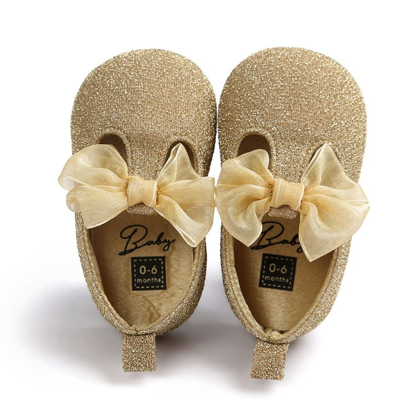 Newborn Baby Faux Leather Anti-Slip Shoes Glitter Powder Mesh Bowknot Sneakers