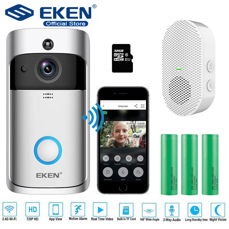 EKEN Video Doorbell Intercom Visual-Recording Home-Monitor Night-Vision Security Smart