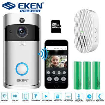 Timbre de vídeo EKEN V5, timbre de puerta de seguridad WiFi inalámbrico inteligente, grabación Visual, Monitor de hogar, intercomunicador de visión nocturna, teléfono de puerta
