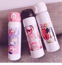 500ml סיילור מון נייד תרמוס כוס אנימה פעולה איור Tsukino Usagi נירוסטה ואקום בקבוק Leakproof מים בקבוק