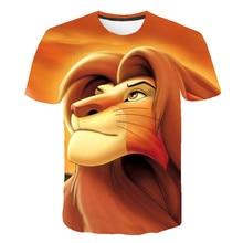 Fashionable Boys and Girls T-shirt 3D Lion Print Design Fashionable Summer T-shirt Brand Top T-shirt Children Size 4T-14T fashionable sochi faulty olympic rings pattern cotton t shirt black xl