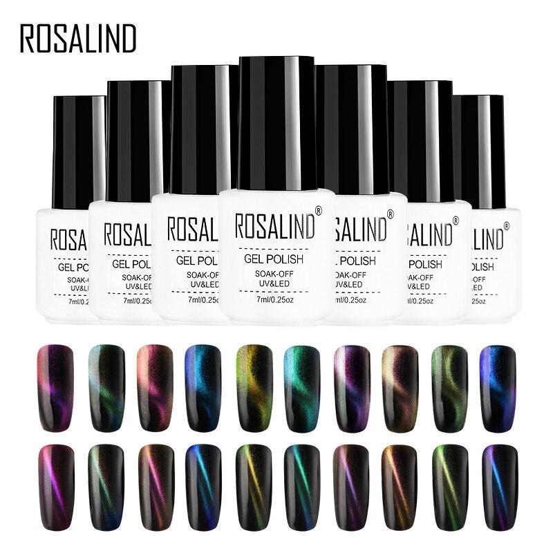 ROSALIND 4D Cat Eye Gel Nail Polish Vernis Semi Permanent UV Nail Art For A Manicure Nail Gel Primer Top Coat Gel Varnish