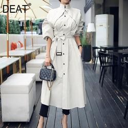 DEAT 2021 New Autumn Office Lady Bat Sleeved Long Length Wild Slim Waist Loose Elegant Stand Collar Women's Trench Coat MX069