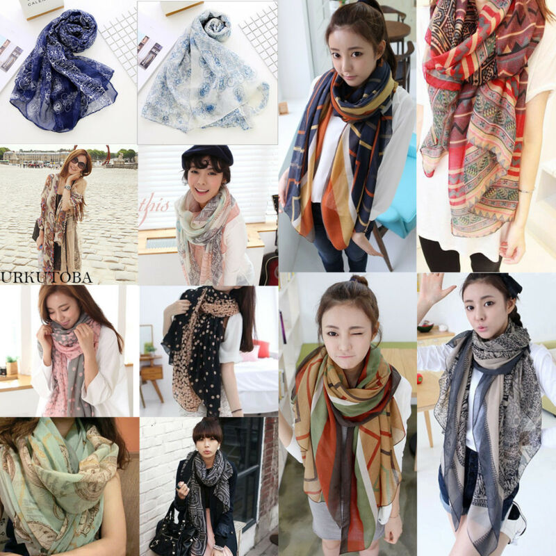 Hot Sale Fashion Women Boho Floral Long Scarf Neck Causal Wrap Lady Beach Shawl Large Soft Stole Scarves One Size For Girls